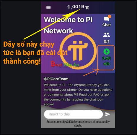 Cài đặt pi network thành công